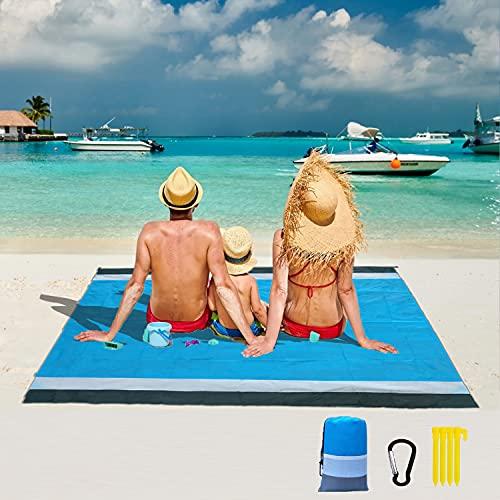 Toalla Playa Grande Manta Picnic Impermeable Esterilla Playa 200X210Cm, Portátil Plegable Toalla De Playa Prueba De Arena Manta con 4 Estacas, Camping Pccesorios Lfombra Exterior 4-6 Personas