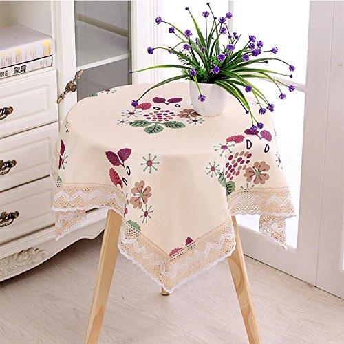 JUMP Grande Nappe Imperméable Beige Coloré Fleur Haute Qualité Lavable Coton Design Rectangle Nappe Dîner Pique-Nique,120*120*Cm