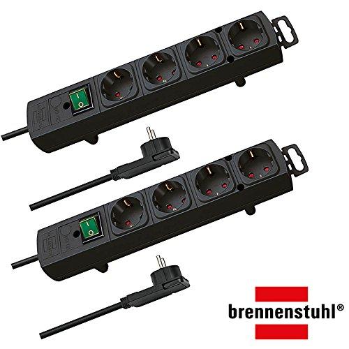 Brennenstuhl Comfort-Line Plus, Steckdosenleiste 4-Fach (mit Flachstecker, Schalter, 2m Kabel und extra breite Abstände der Steckdosen) Farbe: schwarz | 2 Stück