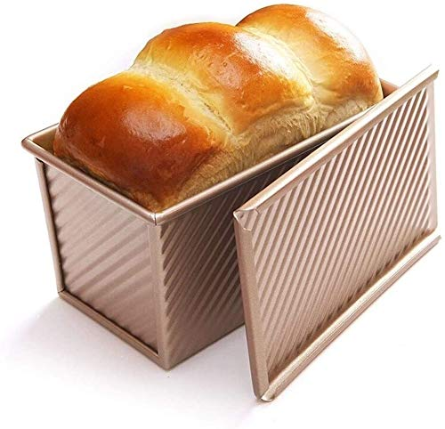 Byrhgood Backbleche for Öfen Non Stick Champagne Goldenen Low Zucker Toast Box Energy Saving Plain Schiebedeckel Non-Stick Toast Box Toast Mold Brotschimmel