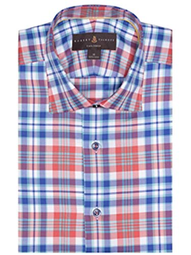 Robert Talbott Orange, Blue and White Twill Plaid Crespi IV Tailored Fit Sport Shirt L
