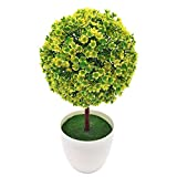 SISHUINIANHUA Falsa Bonsai para Jardín Hogar Mini Topiario Artificial Árbol de la Planta de la Bola Flores Buxus Plantas en Bote Interior Boda Evento Decoración,C