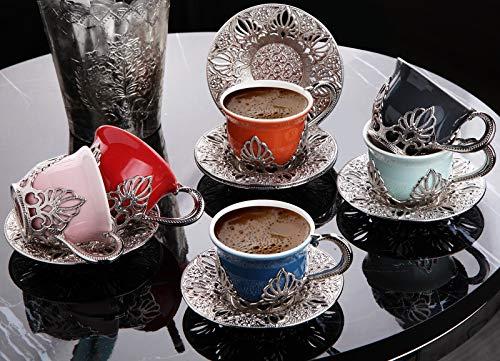 LaModaHome Espresso-Kaffeetassen mit Untertassen, 6er-Set, Porzellan, türkisch, arabisch, griechisch, Kaffeetasse und Untertasse