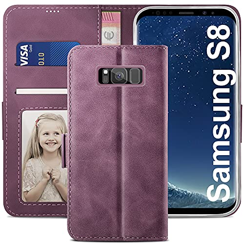 YATWIN Cover per Samsung Galaxy S8, Flip Custodia Portafoglio in Pelle Premium Slot, Interno TPU Antiurto, Supporto Stand, Stile Libro e Chiusura Magnetica per Samsung Galaxy S8 Case Caso- Vino Rosso