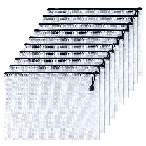TUPARKA 10 piezas A5 Carpetas de archivo con cremallera Bolsas de plástico con cremallera Carpeta para escuela, oficina, tarea, cosméticos, almacenamiento de recibos, negro