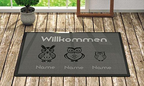 Loose Werbetechnik Fußmatte 'Willkommen' Inkl. Ihrer Namen - Personalisierte Schmutzfangmatte, Fußmatte:60 x 40 cm