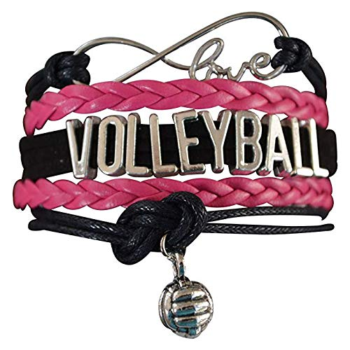 Infinity Collection Volleyball Bracelet- Girls Volleyball Jewelry (5 Colors) Perfect Volleyball Gifts for Players (Pink/Black)