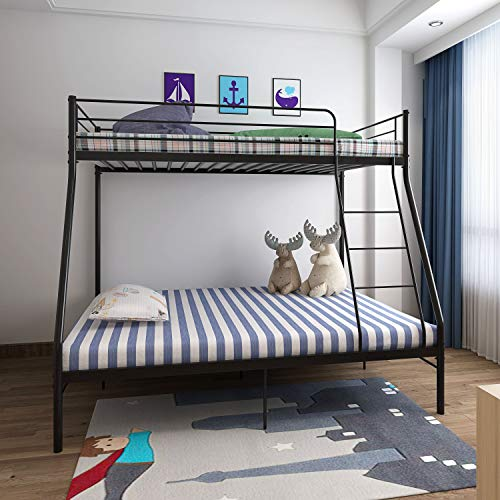 Panana Metal Triple Bunk Bed, 3ft Single and 4ft6 Double Bed Frame with Guardrail (Black)
