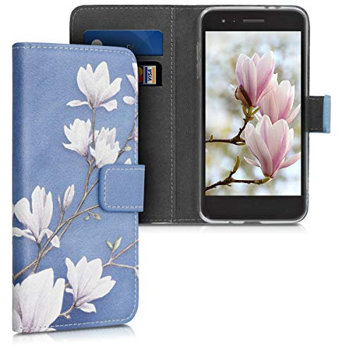 kwmobile Wallet Case Compatible with LG K8 (2018) / K9 - Faux Leather Flip Cover - Magnolias Taupe/White/Blue Grey