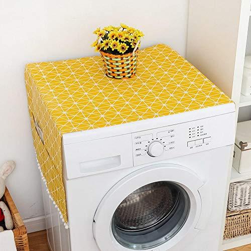Raguso Cubierta antipolvo para nevera, de algodón amarillo, de lino, multiusos, color blanco, para nevera de una sola puerta (55 x 130 cm, 129,5 x 53,3 cm)