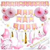 It's a Girl Dekoration Babyparty Mädchen Deko Set- 40 Stk. Baby Shower Pullerparty Deko - Its a Girl Girlande, Luftballons, Rosetten, Quasten, Mummy to be Schärpe - Eine Unvergesslichste Babyparty!