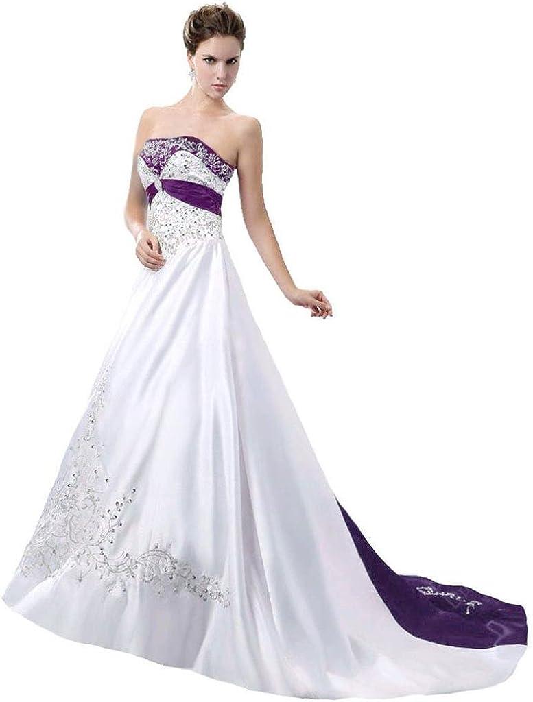 Edaier Women's Court Train Satin Gown Ranking TOP5 Wedding Bride Topics on TV Dress