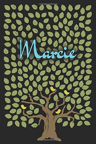 Marcie: Personalized notebook name « Marcie » | Birthday Gift For Woman & Girl, Mom, Sister .. | Birds on the tree design | Lined Journal, 120 Pages, size 6 x 9