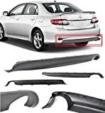 Compatible with Toyota Corolla 11 12 13 Replacement for S Style Rear Diffuser Lower Body Kit Lip Spoiler PP Black 2011 2012 2013 Brand] EAX