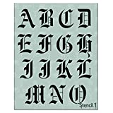 Stencil1 Letter Stencils 2' - Old English Calligraphy Letters & Numbers - Mylar Uppercase and Lowercase Alphabet for Hand Painting, Drawing & Cutting - Perfect for Lettering on Wood, Vinyl & More