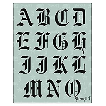 Stencil1 Letter Stencils 2  - Old English Calligraphy Letters & Numbers - Mylar Uppercase and Lowercase Alphabet for Hand Painting Drawing & Cutting - Perfect for Lettering on Wood Vinyl & More