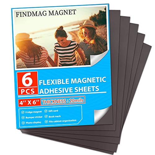 """FINDMAG Magnetic Sheets with Adhesive Backing Cut and Customize Flexible Self Adhesive Magnet Sheets for Picture and Photo Magnets Magnetic Paper for Craft and DIY - 6 pcs Each 4"""" x 6"""""""