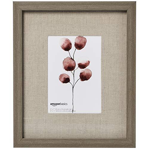 AmazonBasics - Marco de fotos de pared estilo galería, 23 x 28 cm, con hueco de 13 x 18 cm, efecto madera rústica, 2 unidades