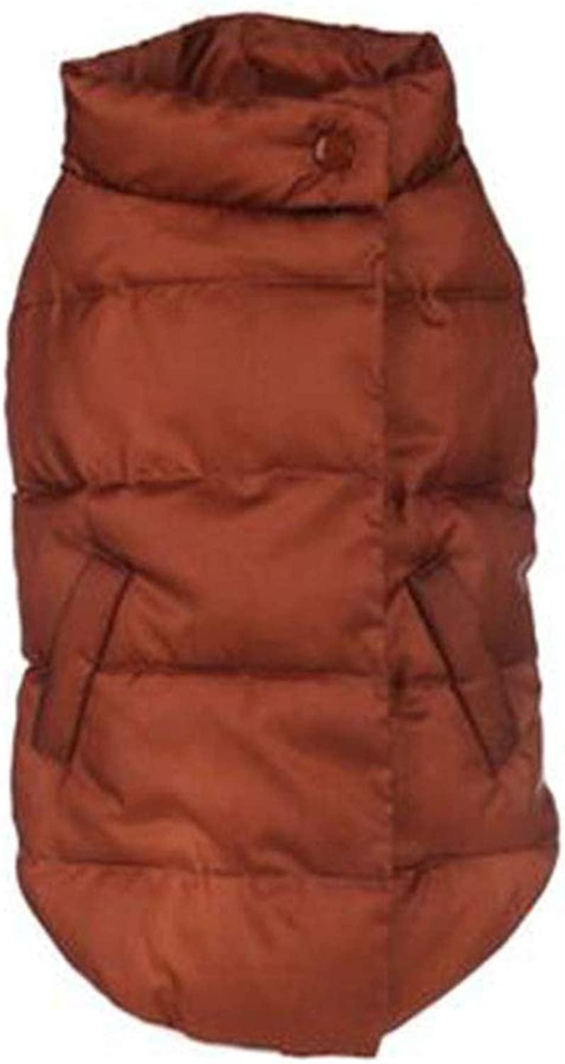 Puppy Dog Waterproof and Velvet Vest Pet Thickening Winter Clothing Warm and Windproof Outdoor Leisure Jacket, 4 colors, 6 Sizes,BrownXXLChest(23.2in)