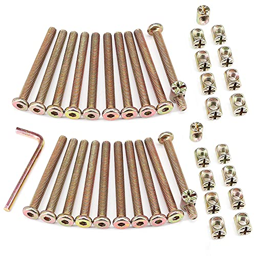 Brugola testa M6,bullone e dado zincato a barile con attacco esagonale per viti di mobili, culle, lettini, e sedie con chiave.