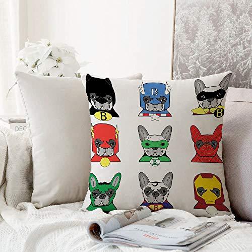 decoración Cuadrada, Superhéroe, Bulldog Superhéroes Cachorros de Dibujos Animados Divertidos disfrazados Perros con máscaras,Funda de Almohada Almohada para Coche Almohada para sofá casero