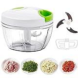 CG Manueller Zerkleinerer für Lebensmittel, leicht zu ziehen, Küchenmaschine, Gemüseschneider, Mixer, zum Zerkleinern von Obst/Gemüse/Nüssen/Kräutern/Zwiebeln/Knoblauch(400 ml)