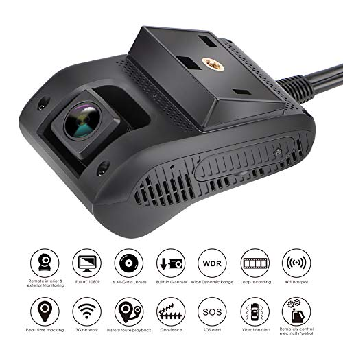 Front Facing /& Internal Views Amacam AM-G10 with 3G GPS Live Video Streaming to Your Phone Monitor Your Vehicle in Real Time from Any Location 16GB Card Included. Dash Cam Car Video Recorders