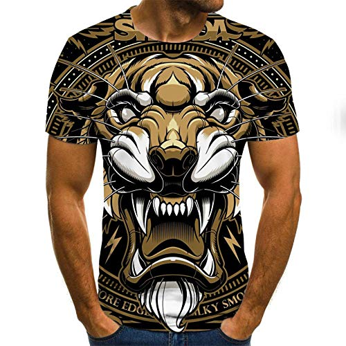 Preisvergleich Produktbild KIKIGO T-Shirt 3D Drucken Sommer Beiläufige, T-Shirt Mit Digitalem 3D-Druckmuster,  Kurzärmeliges Herren-T-Shirt,  Urlaubs-Freizeithemd-M