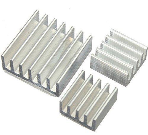 Preisvergleich Produktbild Aihasd 3er Set Alu Kühlkörper in verschiedenen Größen für Raspberry Pi Modell A + B - zum Aufkleben