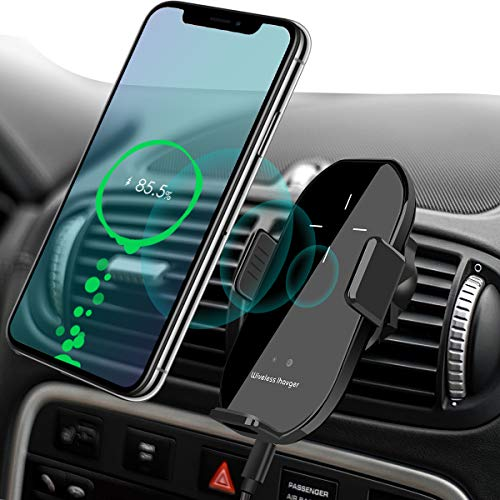 Wireless Car Charger Vent Mount, Automatic Clamping 10W/7.5W Fast Charging Air Vent Car Compatible for iPhone 11/11 Pro/11 Pro Max/Xs MAX/XS/XR/X/8/8+,Samsung S10/S10+/S9/S9+/S8/V30 (Black)
