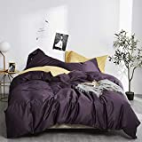 EAVD 3 Pieces Purple Duvet Cover Queen Ultra-Soft 100% Long Staple Cotton Purple Bedding with 2 Button Pillowcases Luxury Modern Solid Color Purple Comforter Set with Zipper Closure(NO Comforter)
