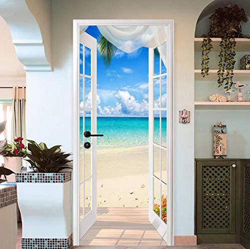 QHWLKJE Arte de puerta 3D Vista a la playa PVC Adhesivo Pegatina Vinilos Decorativos para Puerta Pared Cocina Sala de Baño 77x200cm