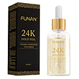 24K Gold Face Serum, Facial Serum with Vitamin C and Hyaluronic Acid, Anti-Aging Skin Repair, Helps with Moisture and Firm Skin (1 FL OZ)