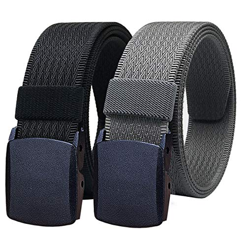 WYuZe Mens Nylon Web Belt No Metal Nickel Free Military Tactical Hiking Belt
