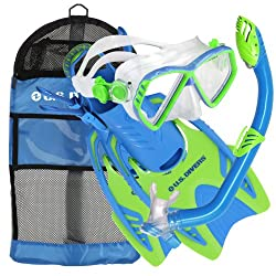 US. Divers Junior Regal Mask, Trigger Fins, and Laguna Snorkel Combo Set