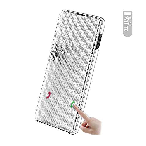 hyujia Compatibile con Samsung Galaxy A20E Custodia 2019/Cover Sottile PU+PC Electroplate Pelle Smart Mirror Flip Cassa/360°Antiurto Supporto Protezione Case Bumper per Galaxy A20E Bianco