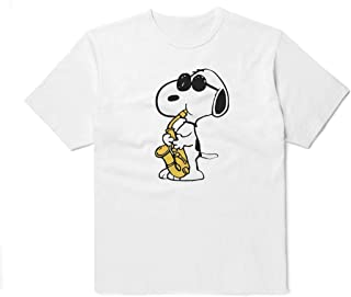 6479e3a74 WolfCases Jazzman Snoopy T-Shirt Unisex Cartoon Outfit Black White Colored  Clothing Cotton Shirt Peanuts