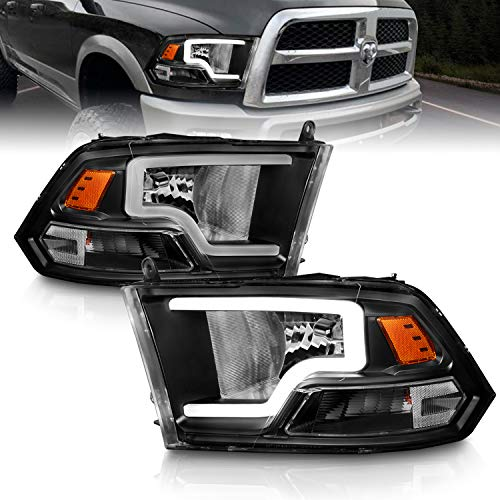 AmeriLite Black Replacement Headlights Assembly Pair LED Bar for 2009-2019 Dodge Ram 1500 2500 3500 Truck - Driver and Passenger Side