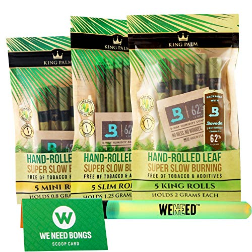 KING PALM VARIETY BUNDLE PACK – 3X NEW 5 Pack King, Slim, Mini Pre-rolled Organic Slow Burning Leaves (3 Pack 15 Wraps…