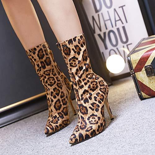 HRCxue Pumps Damenschuhe Spitze Leopardenmuster Damen Stiefeletten Mode High Heel, 39