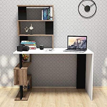 Moderno Scrivania del Computer con Libreria di Stoccaggio /& Vassoio Tastiera,52 Pollici Scrivania Ufficio Sturdy,Scrivania con Scaffali per Studiare Tavolo Pc Desk