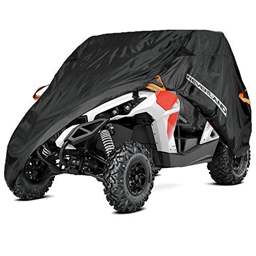 300D Quad ATV/UTV Abdeckplane Fahrzeug Abdeckung Schutz Cover Winterfest Staub Regen UV-Schutz Schwarz (Einreihiger Sitz)