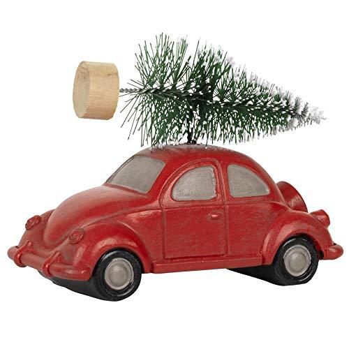 Ib Laursen Weihnachtsschmuck Auto Pick Up mit Christbaum/nostalgisch/rot / 3,8 x 5 x 9 cm - Dekoidee - Vintage
