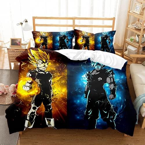 EA-SDN Ropa de cama infantil 135 x 200 cm Dragon Ball Anime funda nórdica + 2 fundas de almohada 80 x 80 cm, microfibra, cama doble (Dragon Ball 4,135 x 200)