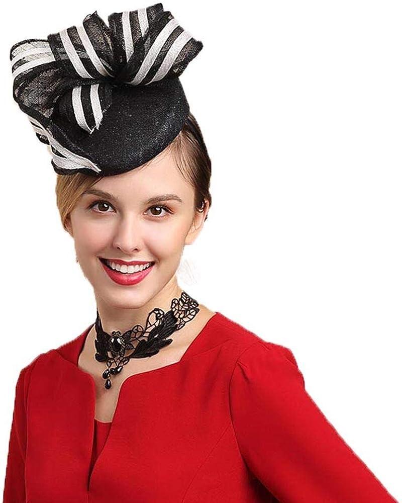 FADVES Womens Derby Fascinators Sinamay Church Hats Pillbox Dress Tea Party Hat Fedoras