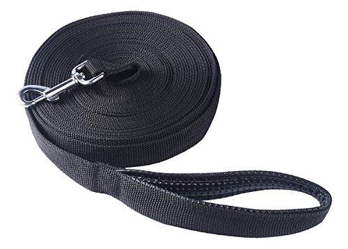 Pofomede Long Leash 33-Feet Dog Leash, Multiple-Use Extra Long Nylon Training Lead Leash with Friction Reducing Leather Padded Handle/Loop for Large Medium Dogs Training Walking (Black)