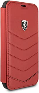 CG Mobile Ferrari Bookstyle Genuine Leather Case for iPhone X and iPhone Xs Hard Cell Phone Cover Red Easy Snap-On Shock A...