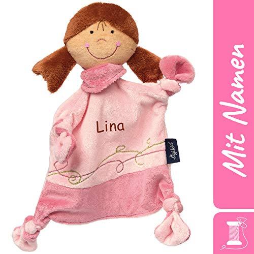 Sigikid Schnuffeltuch Puppe mit Namen Bestickt, Baby & Kinder Schmusetuch personalisiert, Kuscheltuch Geschenkidee Mädchen, Blue, Rosa, 42227
