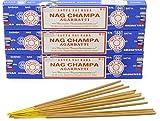 Nag Champa Bastoncini Nag Champa, 15 g, prodotto originale indiano, 3 boites