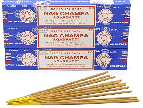 Nag Champa Räucherstäbchen, Weihrauch, 15 g – Original aus Indien, 3 boites
